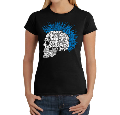 LA Pop Art Women's Word Art T-Shirt - Punk Mohawk