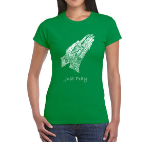 LA Pop Art  Women's Word Art T-Shirt - Prayer Hands