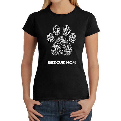 LA Pop Art  Women's Word Art T-Shirt - Rescue Mom