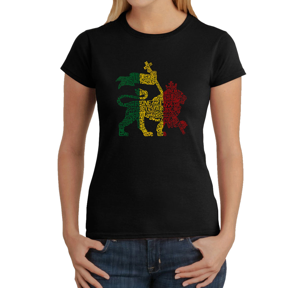 LA Pop Art Women's Word Art T-Shirt - Rasta Lion - One Love