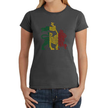 Load image into Gallery viewer, LA Pop Art Women's Word Art T-Shirt - Rasta Lion - One Love