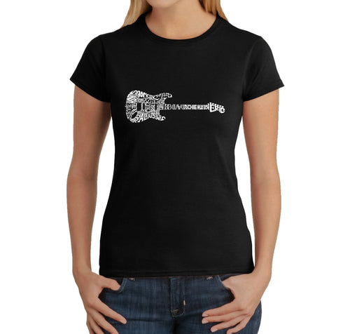 LA Pop Art  Women's Word Art T-Shirt - Rock Guitar