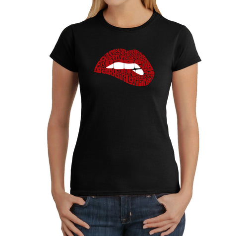 LA Pop Art Women's Word Art T-Shirt - Savage Lips