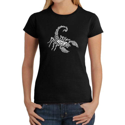 LA Pop Art  Women's Word Art T-Shirt - Types of Scorpions