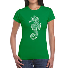 Load image into Gallery viewer, LA Pop Art  Women's Word Art T-Shirt - Types of Seahorse