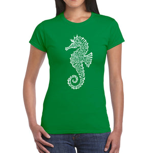 LA Pop Art  Women's Word Art T-Shirt - Types of Seahorse