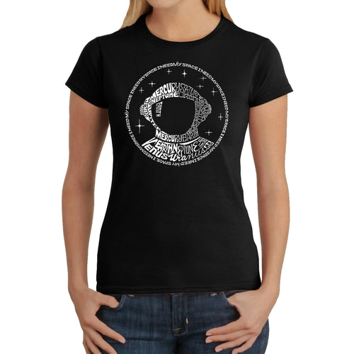 LA Pop Art Women's Word Art T-Shirt - I Need My Space Astronaut