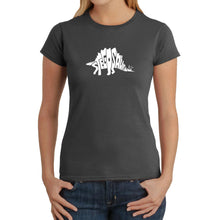 Load image into Gallery viewer, LA Pop Art Women's Word Art T-Shirt - STEGOSAURUS