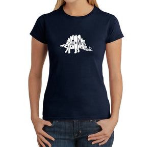 LA Pop Art Women's Word Art T-Shirt - STEGOSAURUS