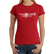 Load image into Gallery viewer, LA Pop Art Women's Word Art T-Shirt - Trumpet