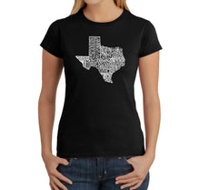 Load image into Gallery viewer, LA Pop Art Women's Word Art T-Shirt - The Great State of Texas