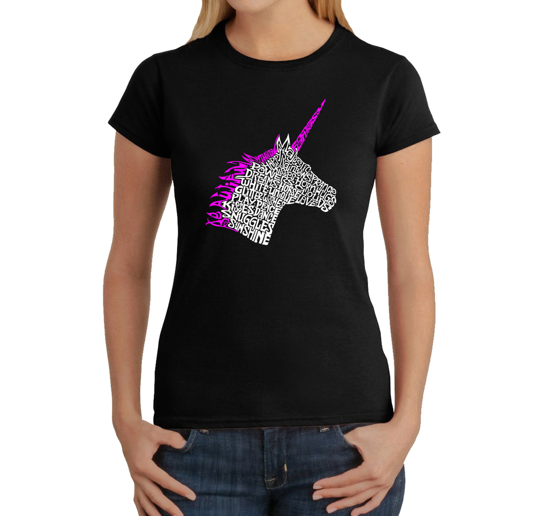 LA Pop Art Women's Word Art T-Shirt - Unicorn