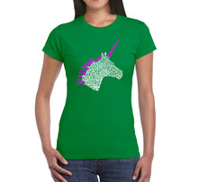 Load image into Gallery viewer, LA Pop Art Women's Word Art T-Shirt - Unicorn