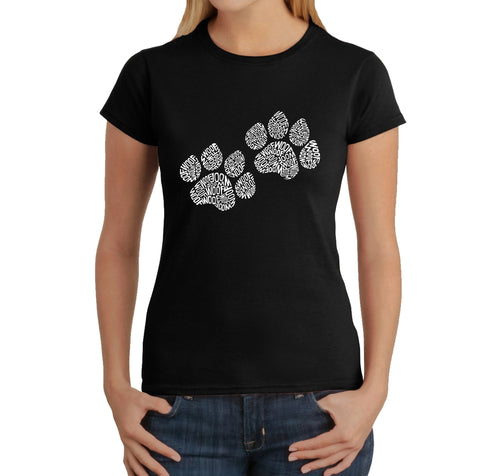 LA Pop Art  Women's Word Art T-Shirt - Woof Paw Prints