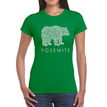 Load image into Gallery viewer, LA Pop Art  Women's Word Art T-Shirt - Yosemite Bear