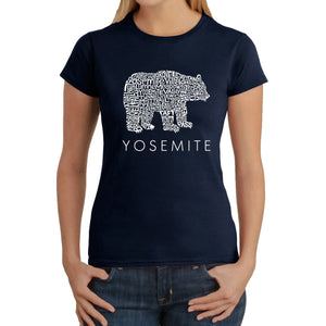 LA Pop Art  Women's Word Art T-Shirt - Yosemite Bear