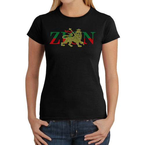 LA Pop Art Women's Word Art T-Shirt - Zion - One Love