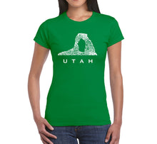 Load image into Gallery viewer, LA Pop Art Women's Word Art T-Shirt - Utah