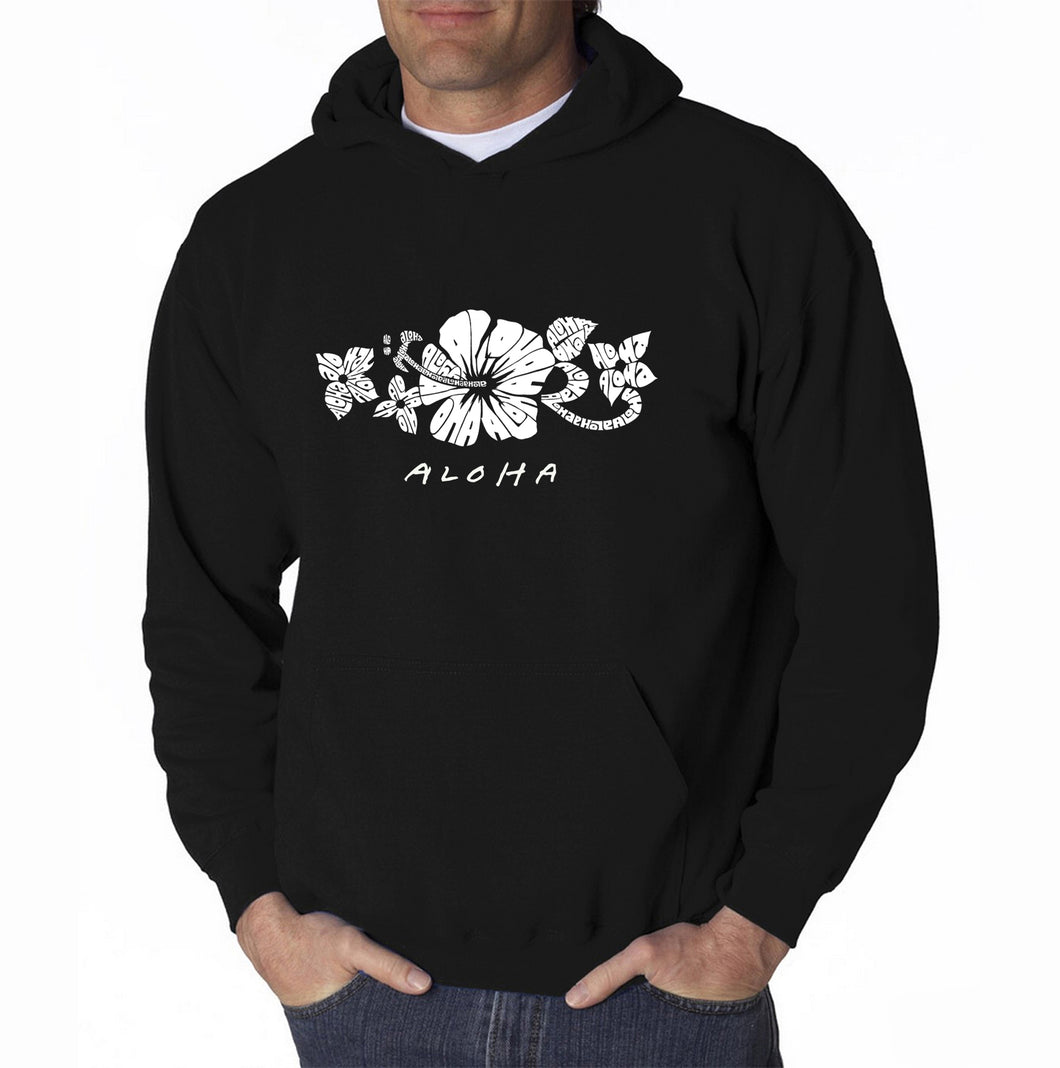 LA Pop Art Men's Word Art Hooded Sweatshirt - ALOHA