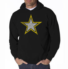 Load image into Gallery viewer, LA Pop Art Men's Word Art Hooded Sweatshirt - LYRICS TO THE ARMY SONG