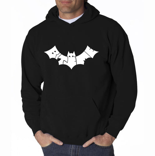 LA Pop Art Men's Word Art Hooded Sweatshirt - BAT - BITE ME