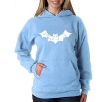 Load image into Gallery viewer, LA Pop Art Women's Word Art Hooded Sweatshirt -BAT - BITE ME