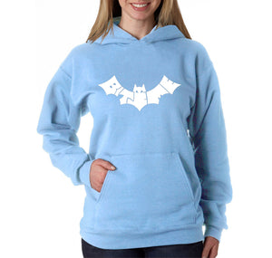 LA Pop Art Women's Word Art Hooded Sweatshirt -BAT - BITE ME