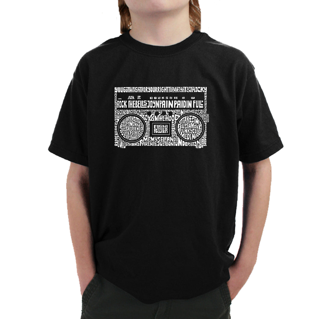 LA Pop Art Boy's Word Art T-shirt - Greatest Rap Hits of The 1980's