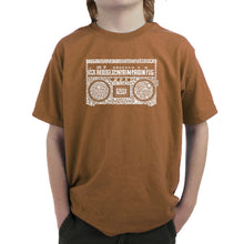 Load image into Gallery viewer, LA Pop Art Boy's Word Art T-shirt - Greatest Rap Hits of The 1980's