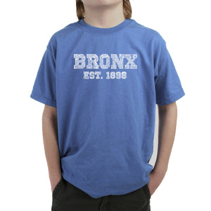LA Pop Art Boy's Word Art T-shirt - POPULAR NEIGHBORHOODS IN BRONX, NY
