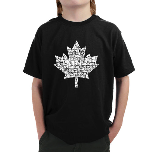 LA Pop Art Boy's Word Art T-shirt - CANADIAN NATIONAL ANTHEM