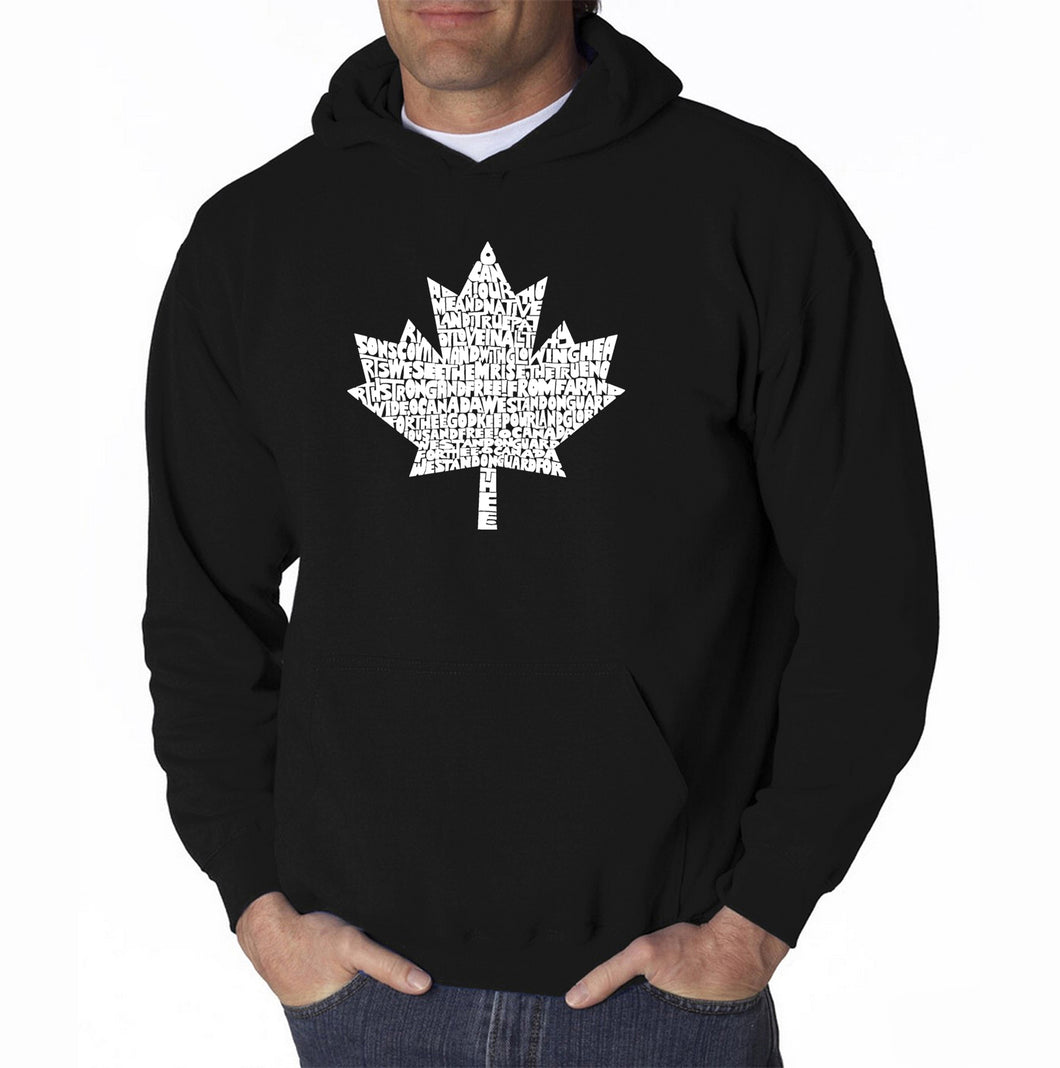 LA Pop Art Men's Word Art Hooded Sweatshirt - CANADIAN NATIONAL ANTHEM