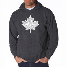 Load image into Gallery viewer, LA Pop Art Men's Word Art Hooded Sweatshirt - CANADIAN NATIONAL ANTHEM