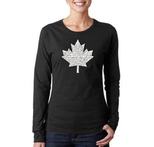Load image into Gallery viewer, LA Pop Art Women's Word Art Long Sleeve T-Shirt - CANADIAN NATIONAL ANTHEM
