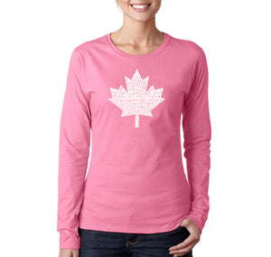 LA Pop Art Women's Word Art Long Sleeve T-Shirt - CANADIAN NATIONAL ANTHEM