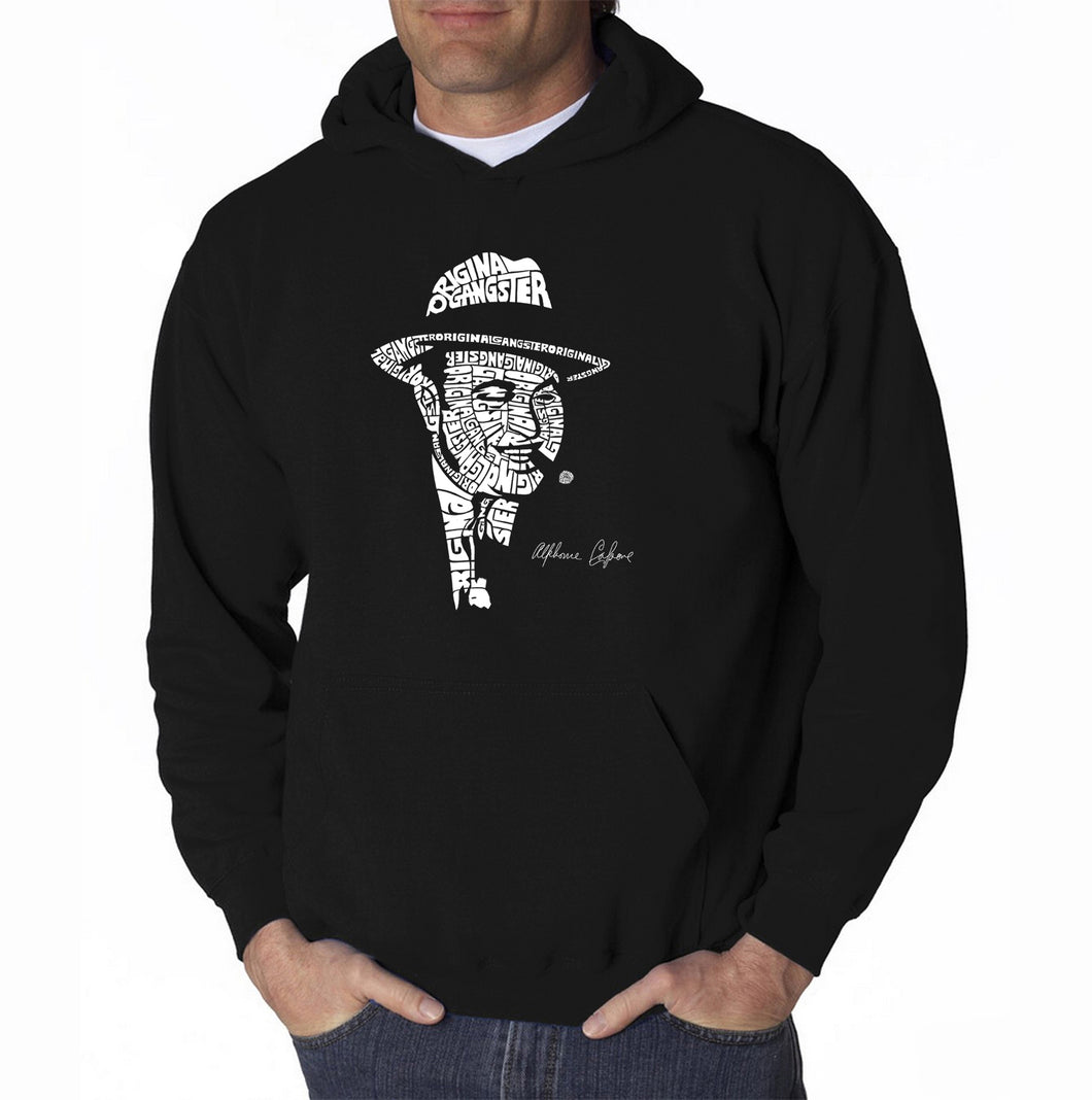 LA Pop Art Men's Word Art Hooded Sweatshirt - AL CAPONE-ORIGINAL GANGSTER