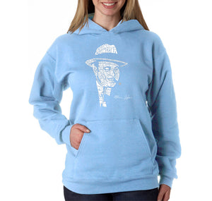 LA Pop Art Women's Word Art Hooded Sweatshirt -AL CAPONE-ORIGINAL GANGSTER