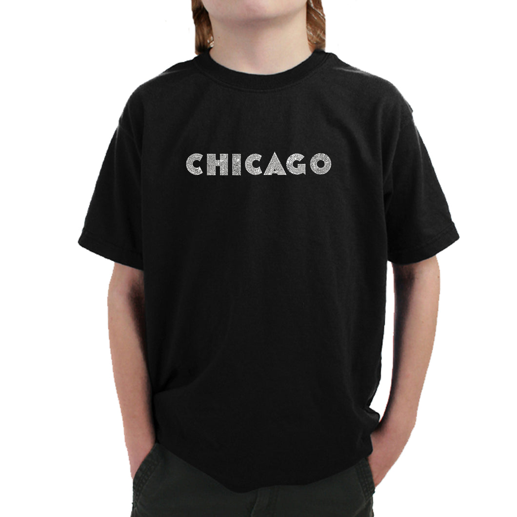 LA Pop Art Boy's Word Art T-shirt - CHICAGO NEIGHBORHOODS