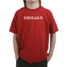 Load image into Gallery viewer, LA Pop Art Boy's Word Art T-shirt - CHICAGO NEIGHBORHOODS