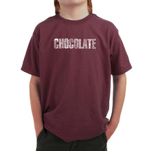 Load image into Gallery viewer, LA Pop Art Boy's Word Art T-shirt - Different foods made with chocolate