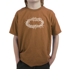 Load image into Gallery viewer, LA Pop Art Boy's Word Art T-shirt - CROWN OF THORNS