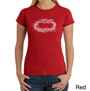 LA Pop Art Women's Word Art T-Shirt - CROWN OF THORNS