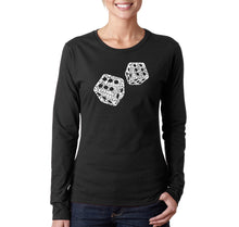 Load image into Gallery viewer, LA Pop Art Women's Word Art Long Sleeve T-Shirt - DIFFERENT ROLLS THROWN IN THE GAME OF CRAPS