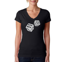 Load image into Gallery viewer, LA Pop Art Women's Word Art V-Neck T-Shirt - DIFFERENT ROLLS THROWN IN THE GAME OF CRAPS