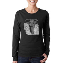 Load image into Gallery viewer, LA Pop Art Women's Word Art Long Sleeve T-Shirt - ELEPHANT