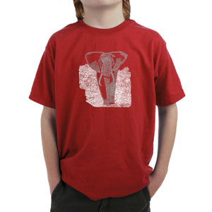 LA Pop Art Boy's Word Art T-shirt - ELEPHANT