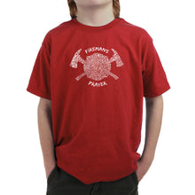 Load image into Gallery viewer, LA Pop Art Boy's Word Art T-shirt - FIREMAN'S PRAYER