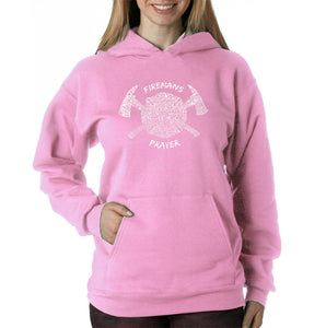 LA Pop Art Women's Word Art Hooded Sweatshirt -FIREMAN'S PRAYER