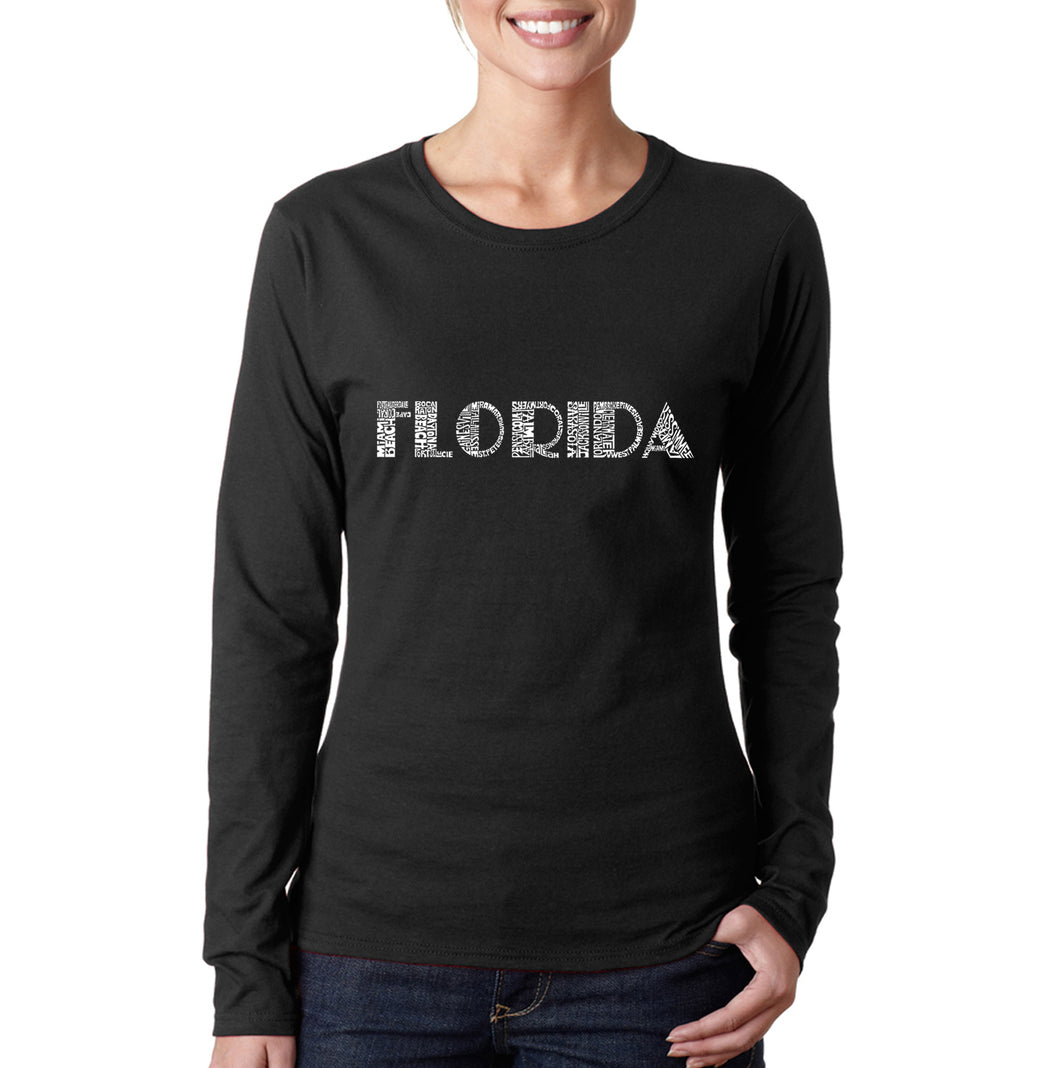 LA Pop Art Women's Word Art Long Sleeve T-Shirt - POPULAR CITIES IN FLORIDA