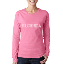Load image into Gallery viewer, LA Pop Art Women's Word Art Long Sleeve T-Shirt - POPULAR CITIES IN FLORIDA